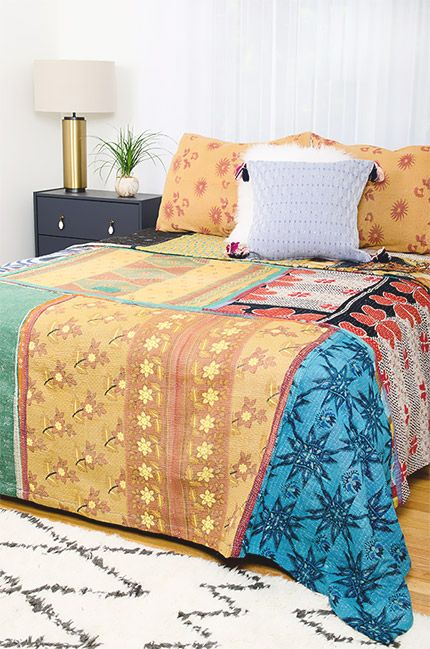 Kantha Quilt - King Bedding Set - CK61 All Things KanthaKantha - Used Bedroom Sets