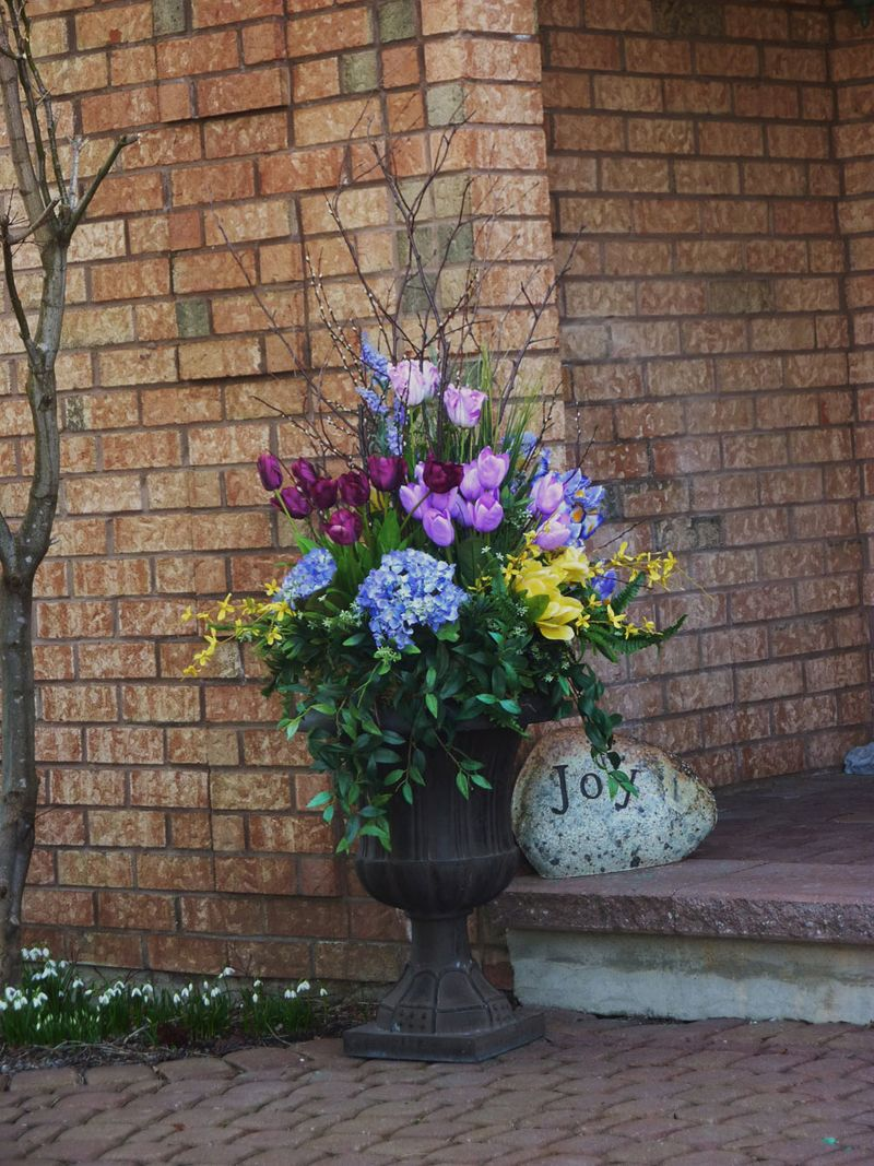 Urn Decorations For Spring Spring Brings Joy A Potted Plant Arrangement Designeddoris At