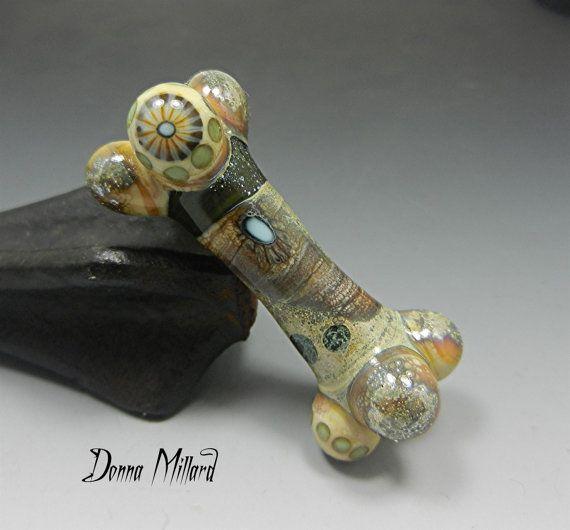 sra handmade lampwork focal bead donna millard ocean fossil sea organic tribal relic rustic primitive turquoise