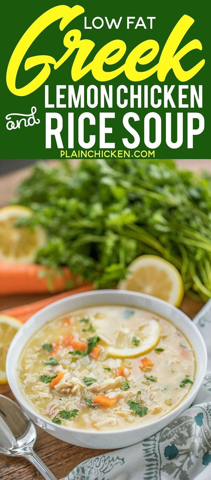 Low Fat Greek Lemon Chicken & Rice Soup - seriously the most delicious chicken soup EVER! Ready in 20 minutes! Chicken, chicken broth, carrots, celery, Greek seasoning, cream of chicken soup, garlic, lemon juice and rice. Made this for dinner and everyone could not stop raving about it! We make this at least twice a month now. Can freeze leftovers. #chickensoup #soup #greeklemonrice