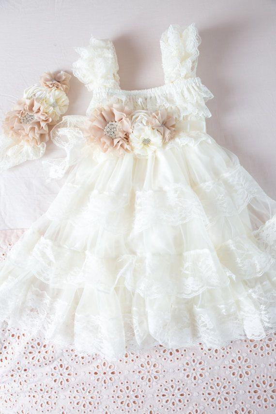 Ivory Lace Flower Girl Dress Ivory Lace Baby di CountryCoutureCo