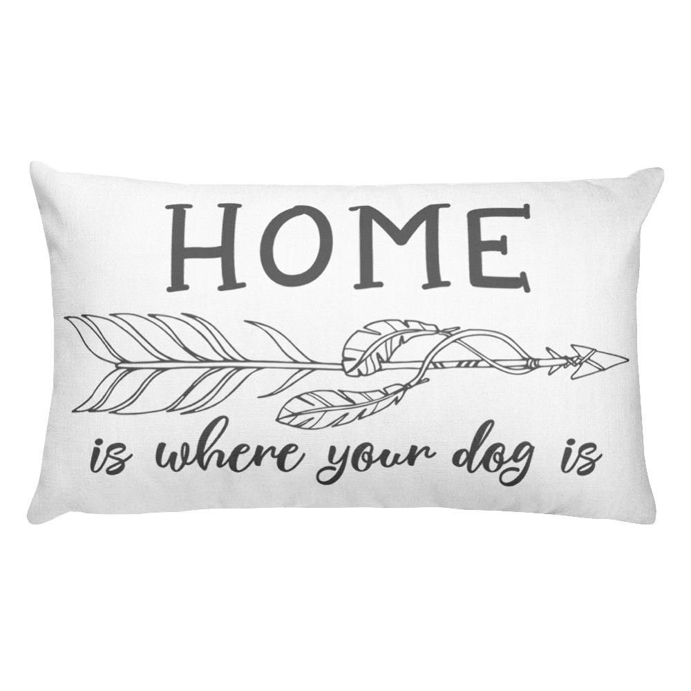 Dog boho rustic cute dog owner white pillow grey graphic