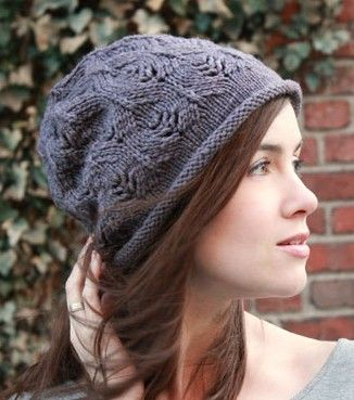 Free knitting pattern for Plum Tree Slouchy Hat with all over lace pattern c3d4a6362b2