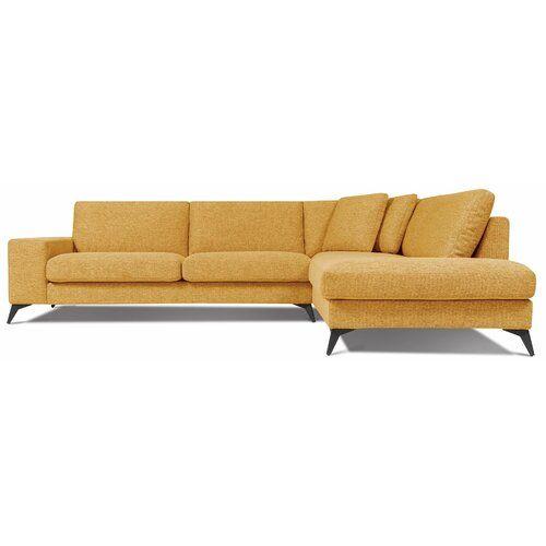 Ebern Designs Dieses Ecksofa kombiniert Stil und praktischen Nutzen. Dazu ist das Sofa vielseitig und fügt sich in viele Einrichtungen ein. Polsterfarbe: Gelb, Ausrichtung: Rechts ausgerichtet, Brandsicher: Nein