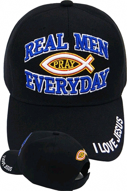 91ba71a597f Christian Baseball Cap Black Hat Real Men Pray Everyday - C611IFYAAET - Hats    Caps