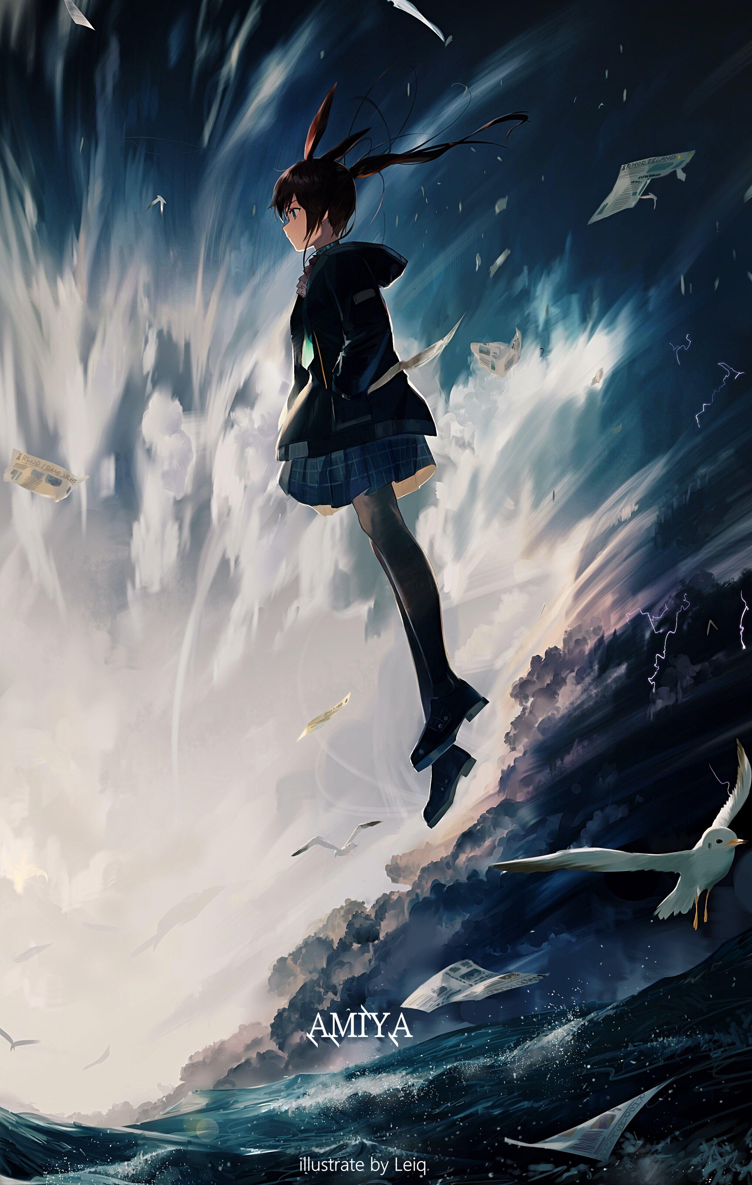 anime anime girls sea Arknights Leiq (artista) 4K