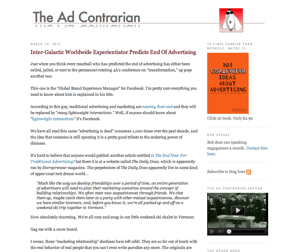 The Ad Contrarian: a blog by Bob Hoffman, ceo of Hoffman/Lewis advertising