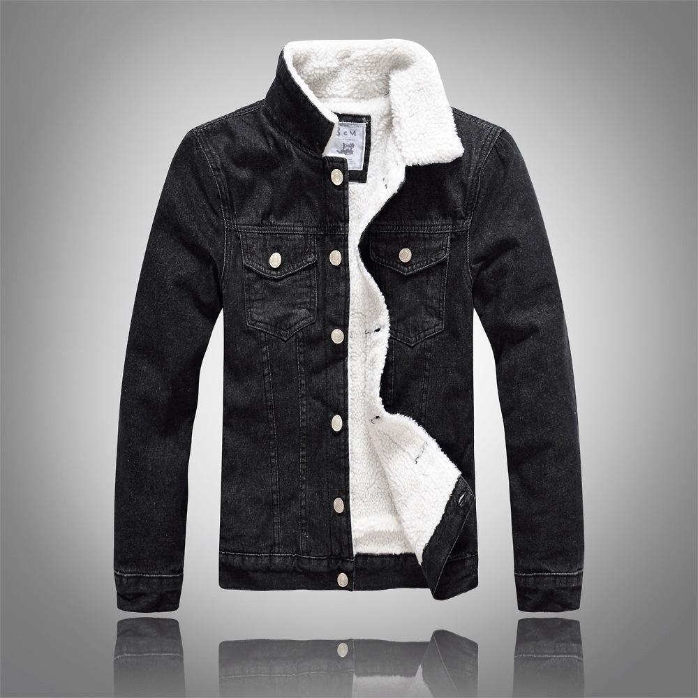 Black Lambswool Jeans Jacket Black Denim Jacket Men Denim Jacket Winter Denim Jacket With Fur