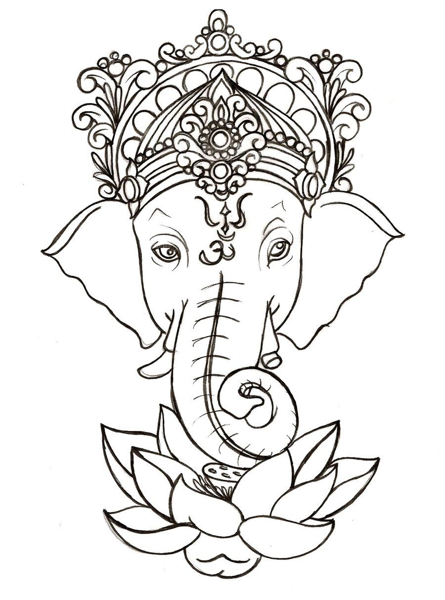 Ganesh With Lotus Tattoo By Metacharis On Deviantart тату эскизы