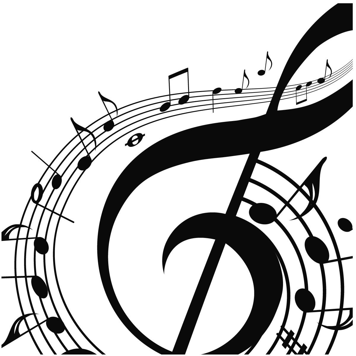 Musical notes silhouette musical notes swirling around a treble musical note wall sticker music wall decal art available in 5 sizes and 25 colours x large black biocorpaavc