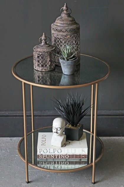 Antiqued Mirror Side Table   Coffee U0026 Side Tables   Furniture More