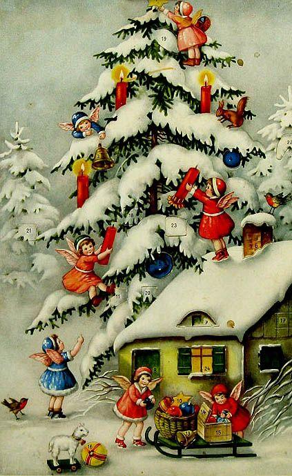 Advent Calendars Antique Christmas Christmas Angels Retro Christmas Decorations