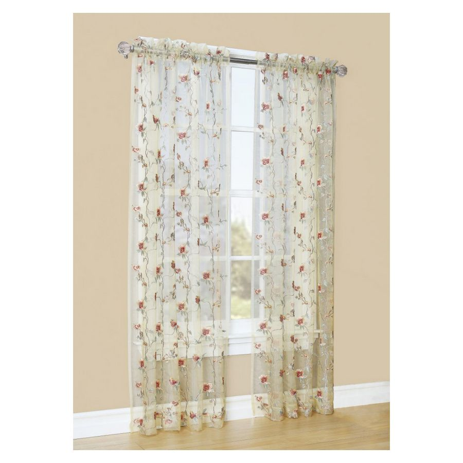 Shop Style Selections 84 Antique Arcadia Sheer Curtain At Lowes