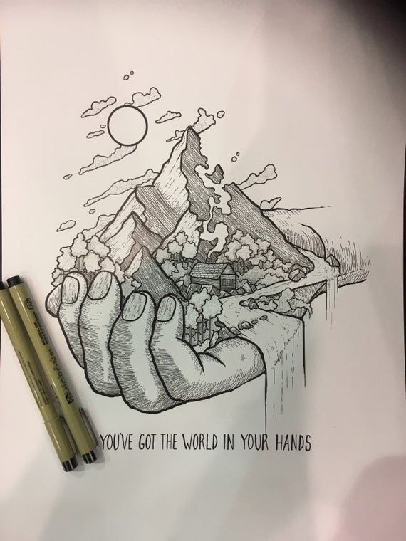 World In Hands Drawing : world, hands, drawing, Youve, World, Hands, Print, Corrupted, Meaningful, Drawings,, Drawing,