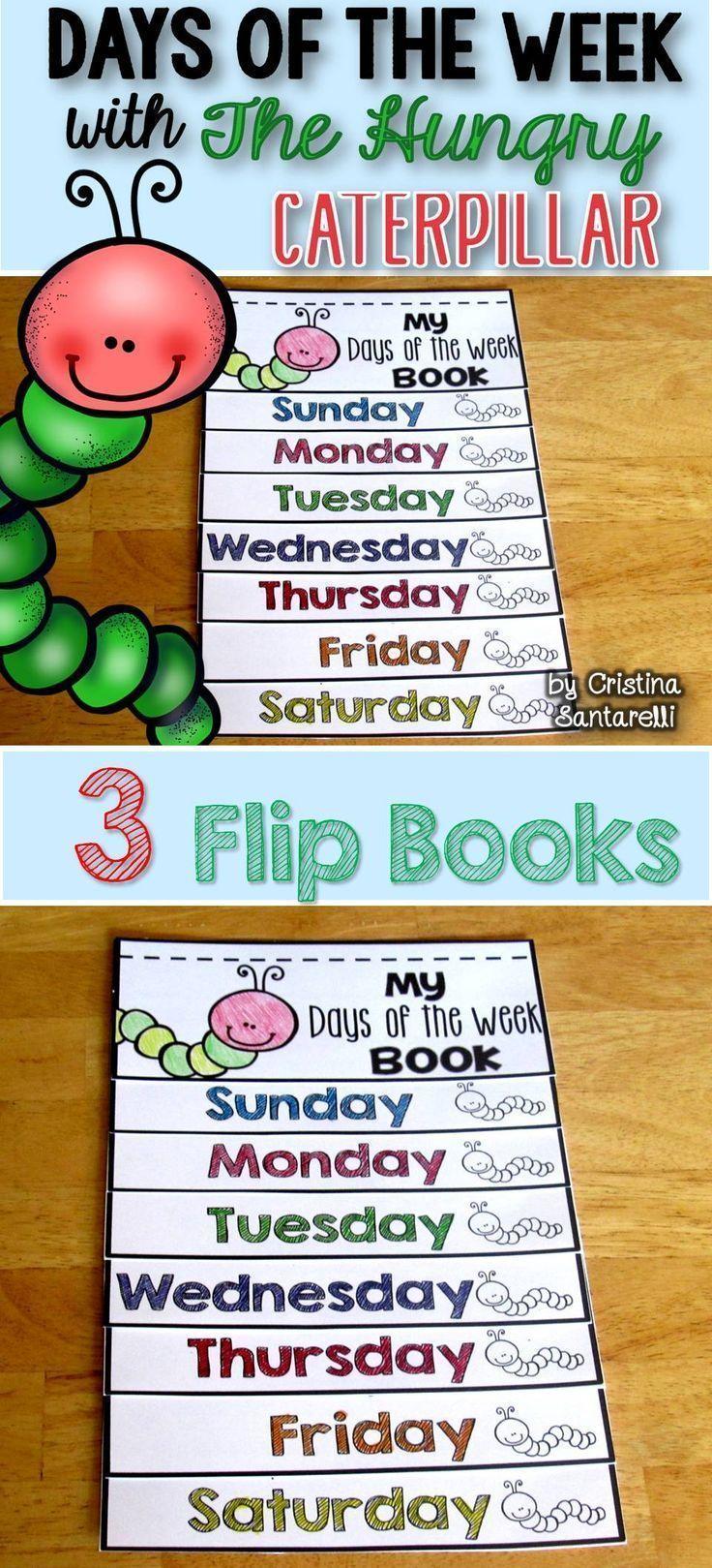 Days of the week flip book   Hungry caterpillar activities ...