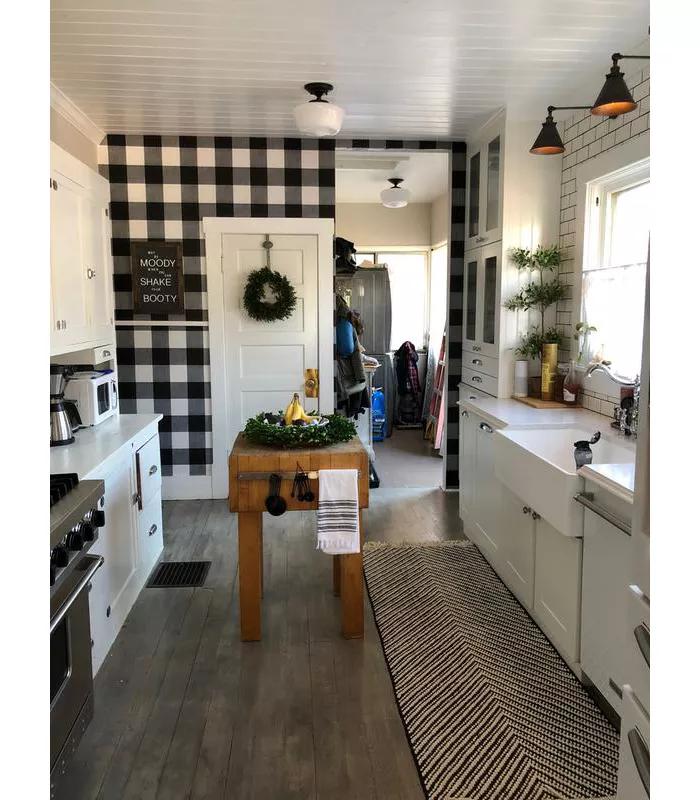 Devine Color Buffalo Plaid Peel Stick Wallpaper Black And Lightning Target 4k In 2020 Home Kitchen Models Farmhouse Kitchen Decor