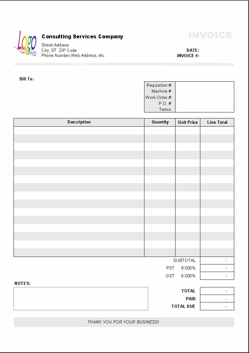 Excel Based Consulting Invoice Template Excel Invoice Manager - Job work invoice format in excel for service business