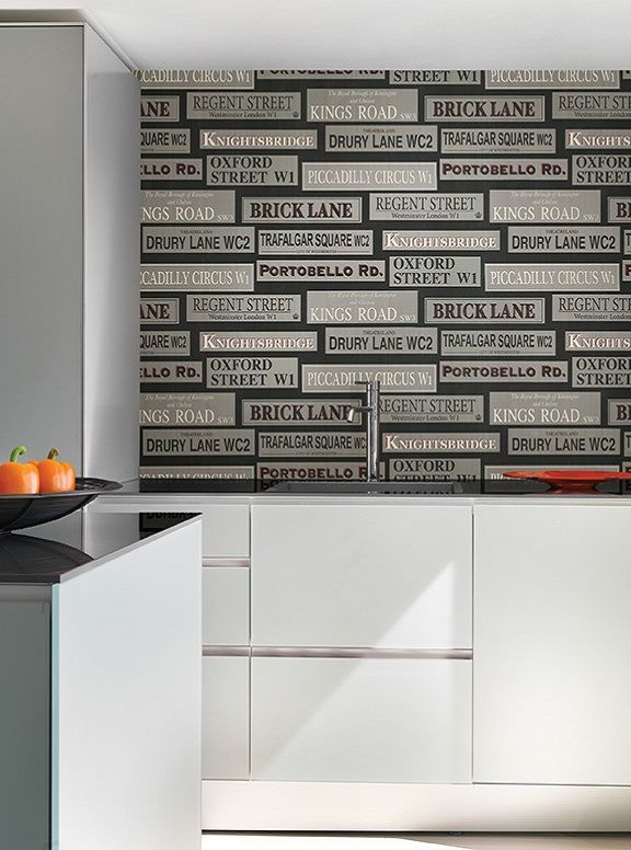 Black And Silver Street Signs Contemporary Wallpaper