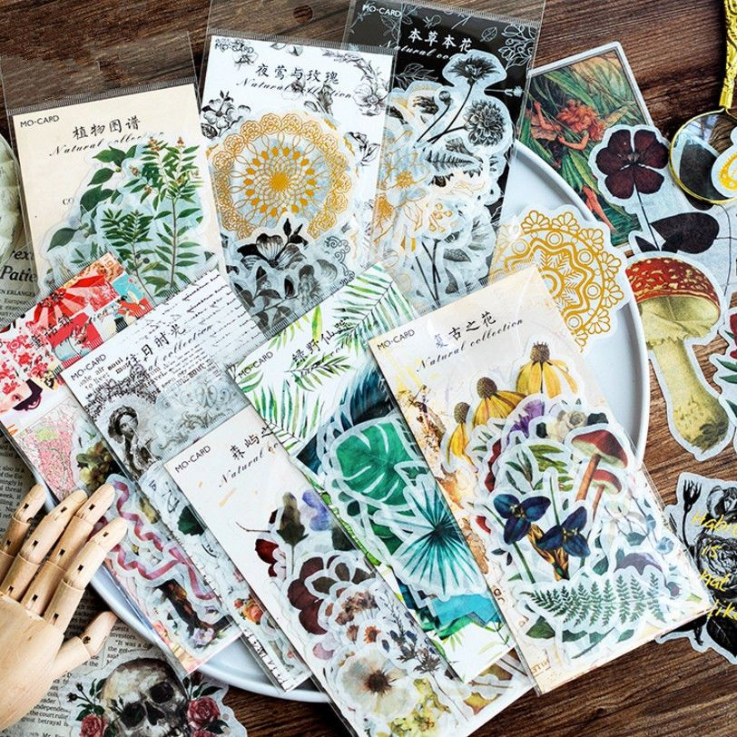 60pcs Natural Washi Paper Sticker Decal DIY Diary Decor Stickers Album Scrapbook