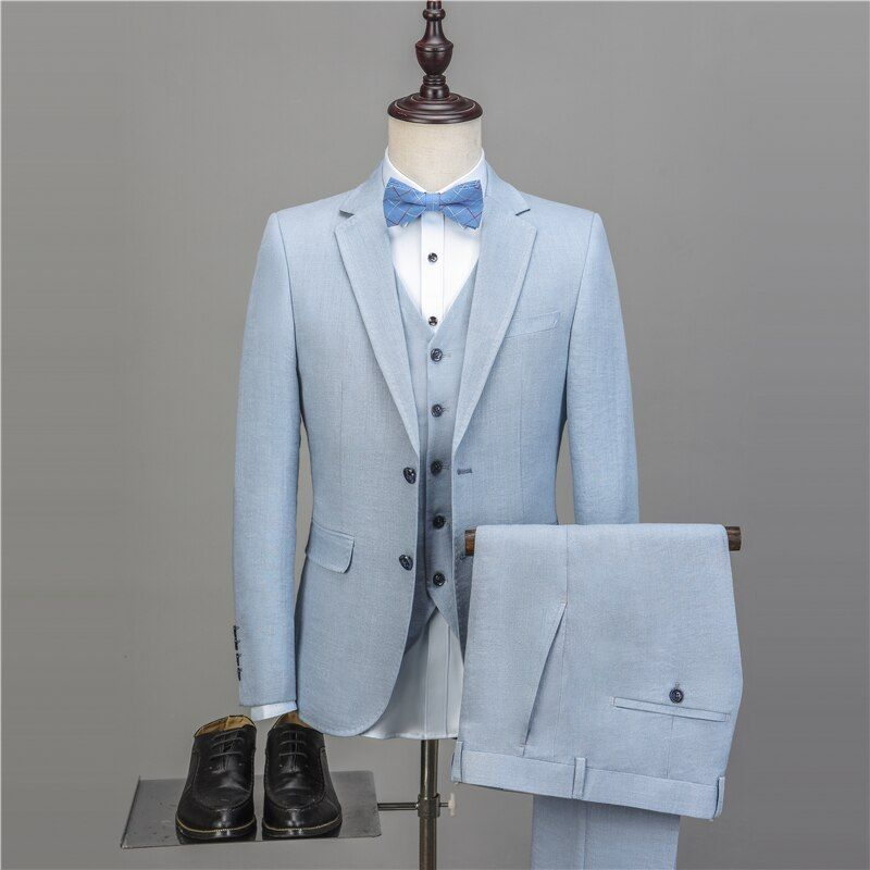 NA45 New Men's Casual Suits Slim Fit Solid Linen Suits Men Top Quality Mens Suits With Pants And Vests Plus Size Tailored Made #men#39;ssuits
