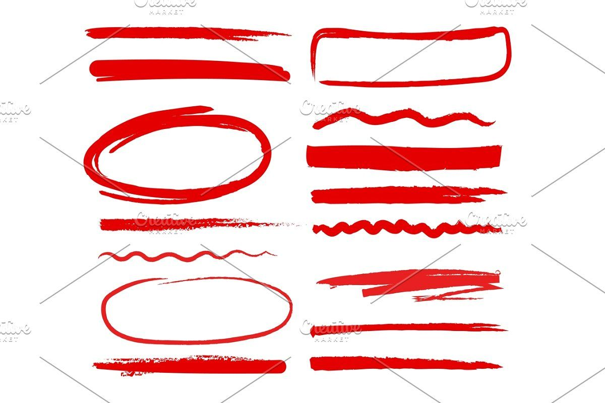 Marker Red Highlighters Hand Drawn How To Draw Hands Markers Ink Brush