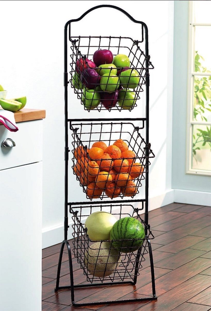 Wire Storage Basket Bins Shelving 3 Tier Rack Organizer Fruit Stand ...