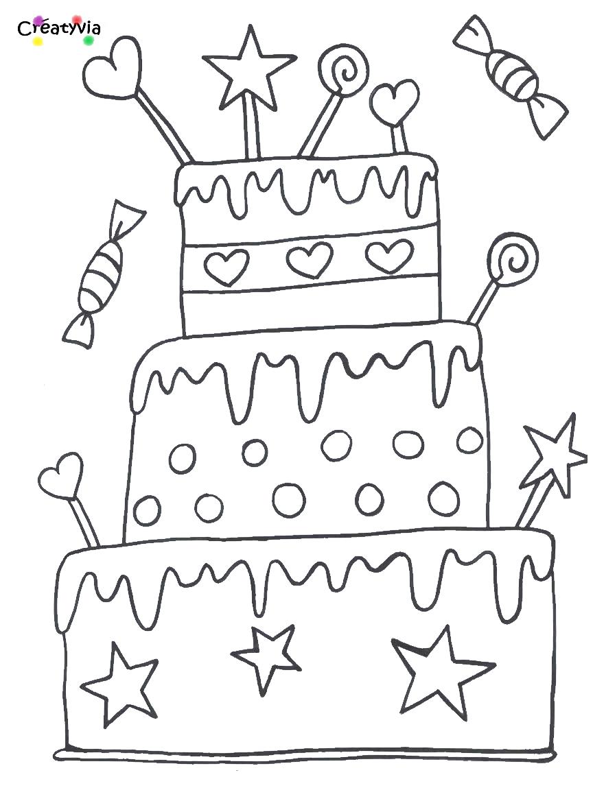Grand gâteau d´anniversaire   Coloriage anniversaire, Dessin ...
