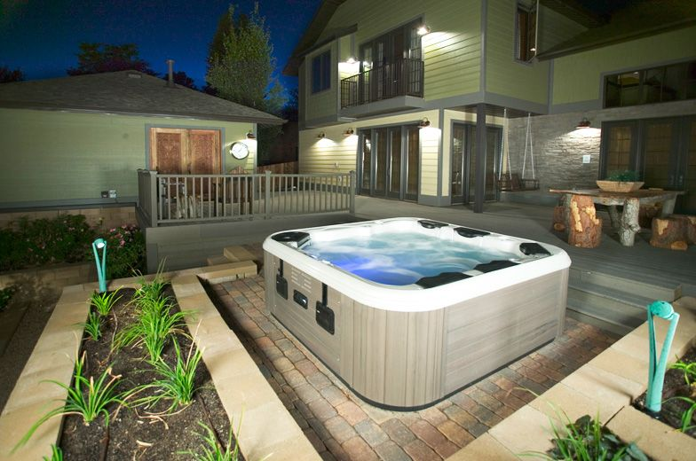 Pin By Bullfrog Spas On Backyard Design Ideas Hot Tub Backyard Hot Tub Landscaping Hot Tub