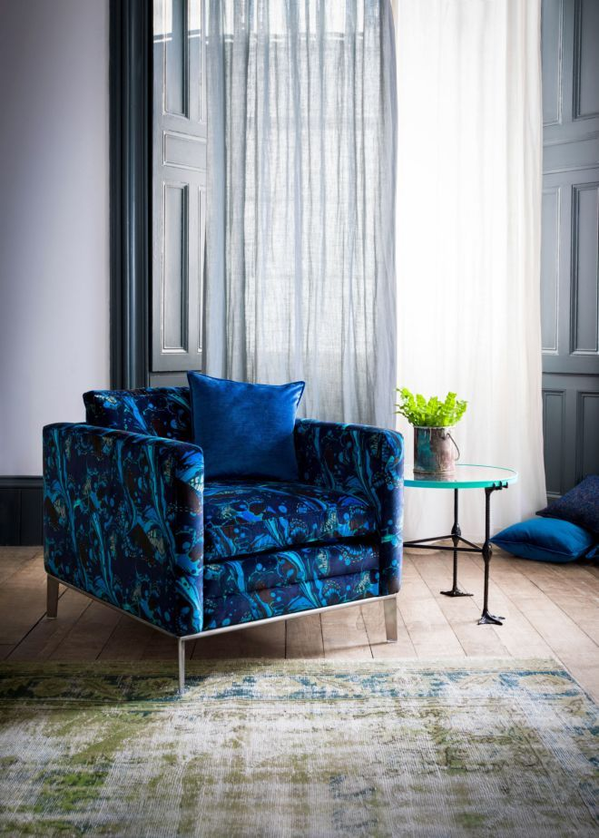 Delightful The Matthew Williamson Electric Blue Marble Butterfly Minnelli Chair.
