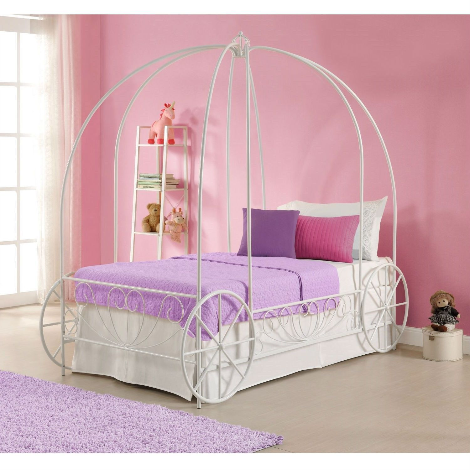 Decorative metal bed frame - Twin Size Princess Canopy Bed With Decorative Wheels In White Metal Finish
