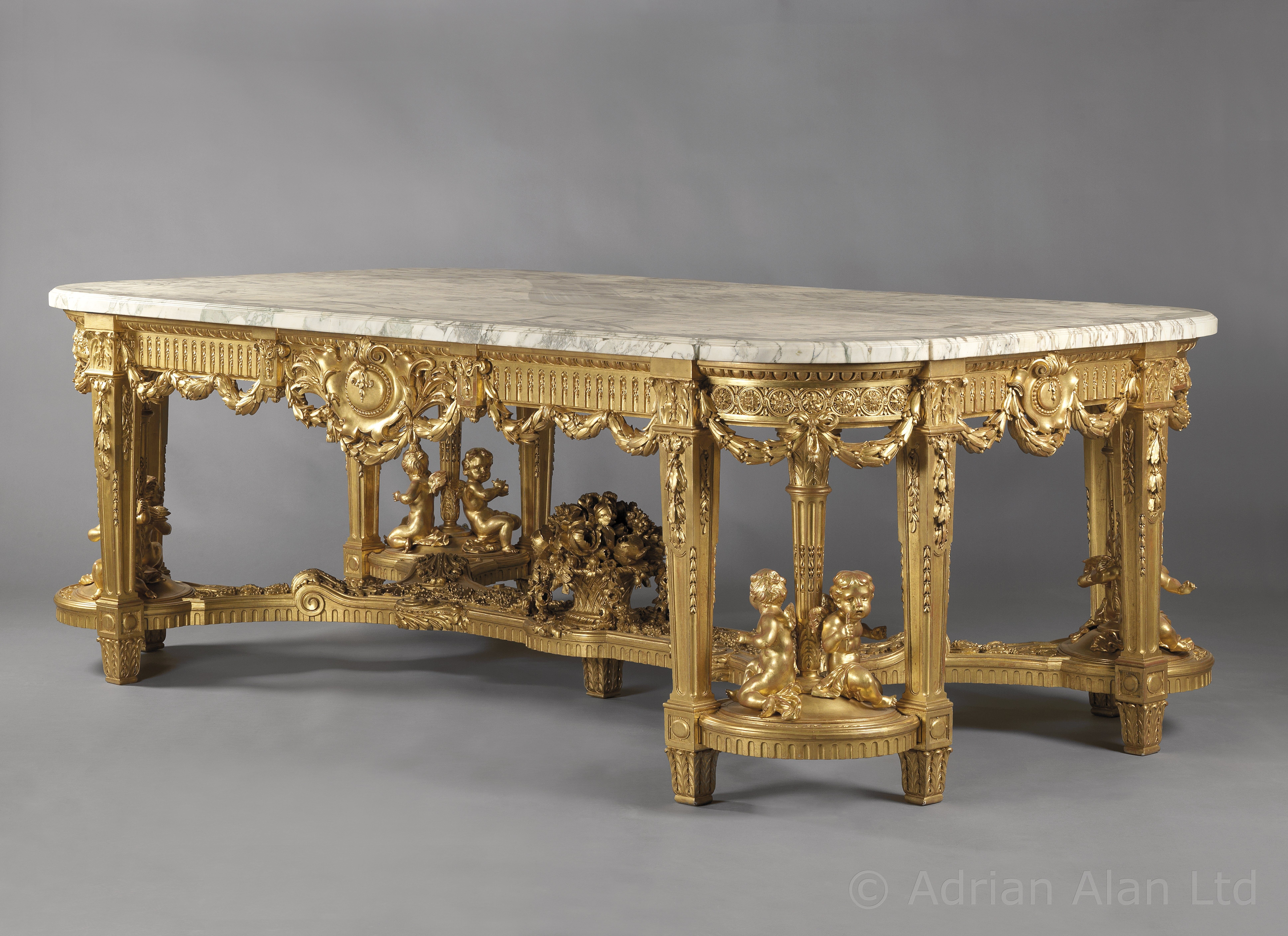 A Unique Monumental Antique Louis XVI Style Giltwood Centre Table With A Brèche  Violette Marble Top, by François Linke,  French, 1914.