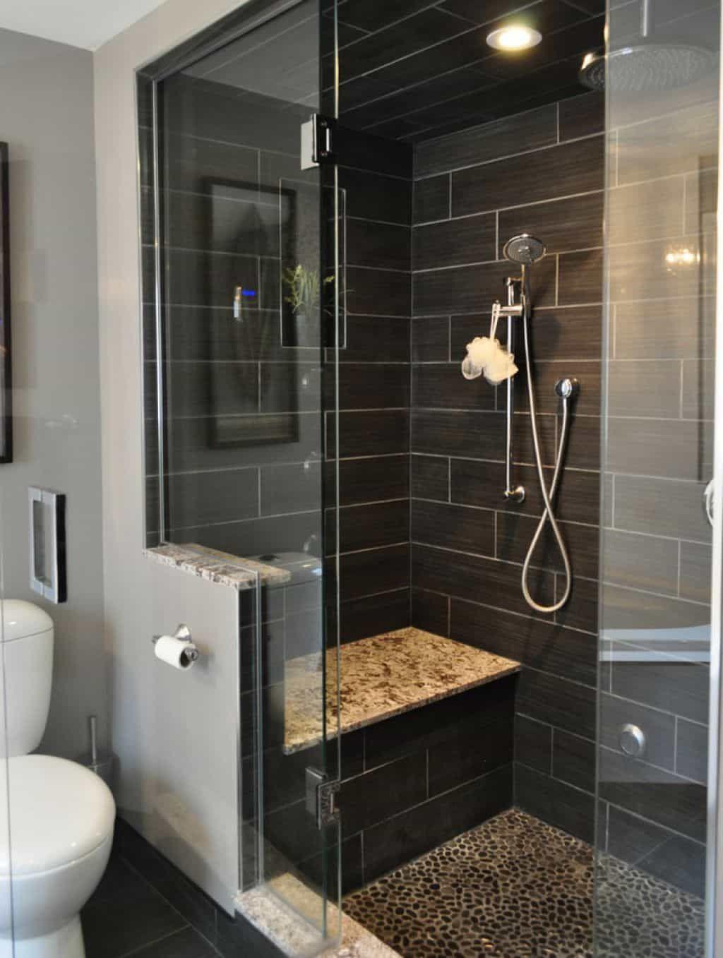 23 Modern Bathroom With Black Chevron Slate Flooring Ceplukan Bathroom Remodel Shower Shower Remodel Bathroom Shower Design