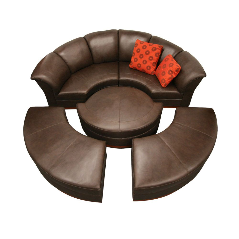 Unique Couch With A Full Circle Made Of Material Colored Skin With A  Partial Brown Sofa
