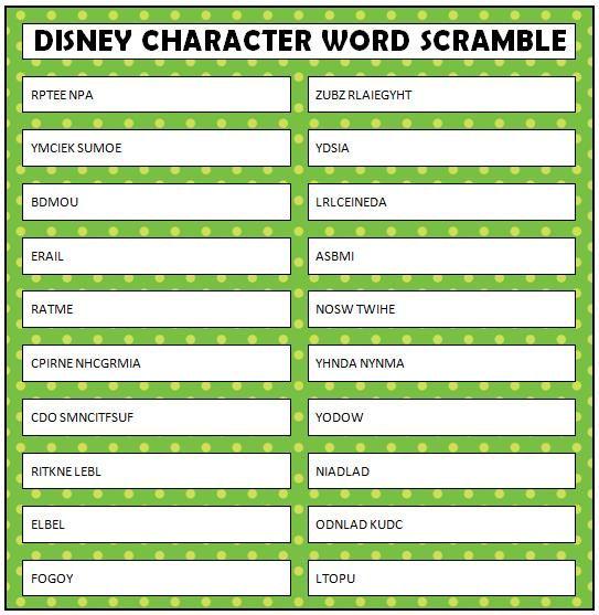 Dramatic image inside word scramble printable