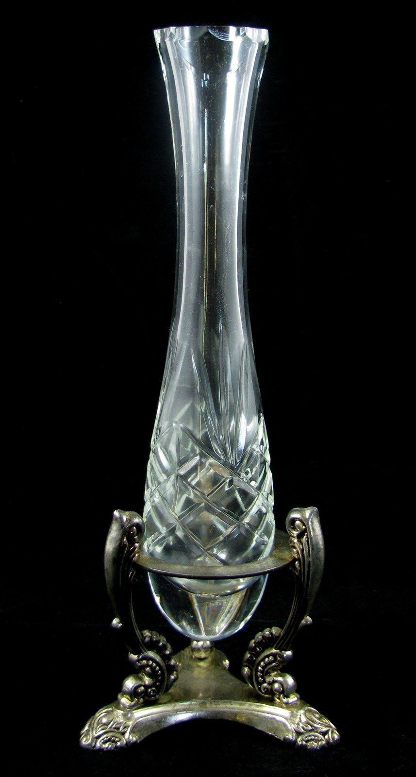 Vintage Sparkling Crystal Cut Vase & Silverplate Ornate Stand Godinger SilverArt