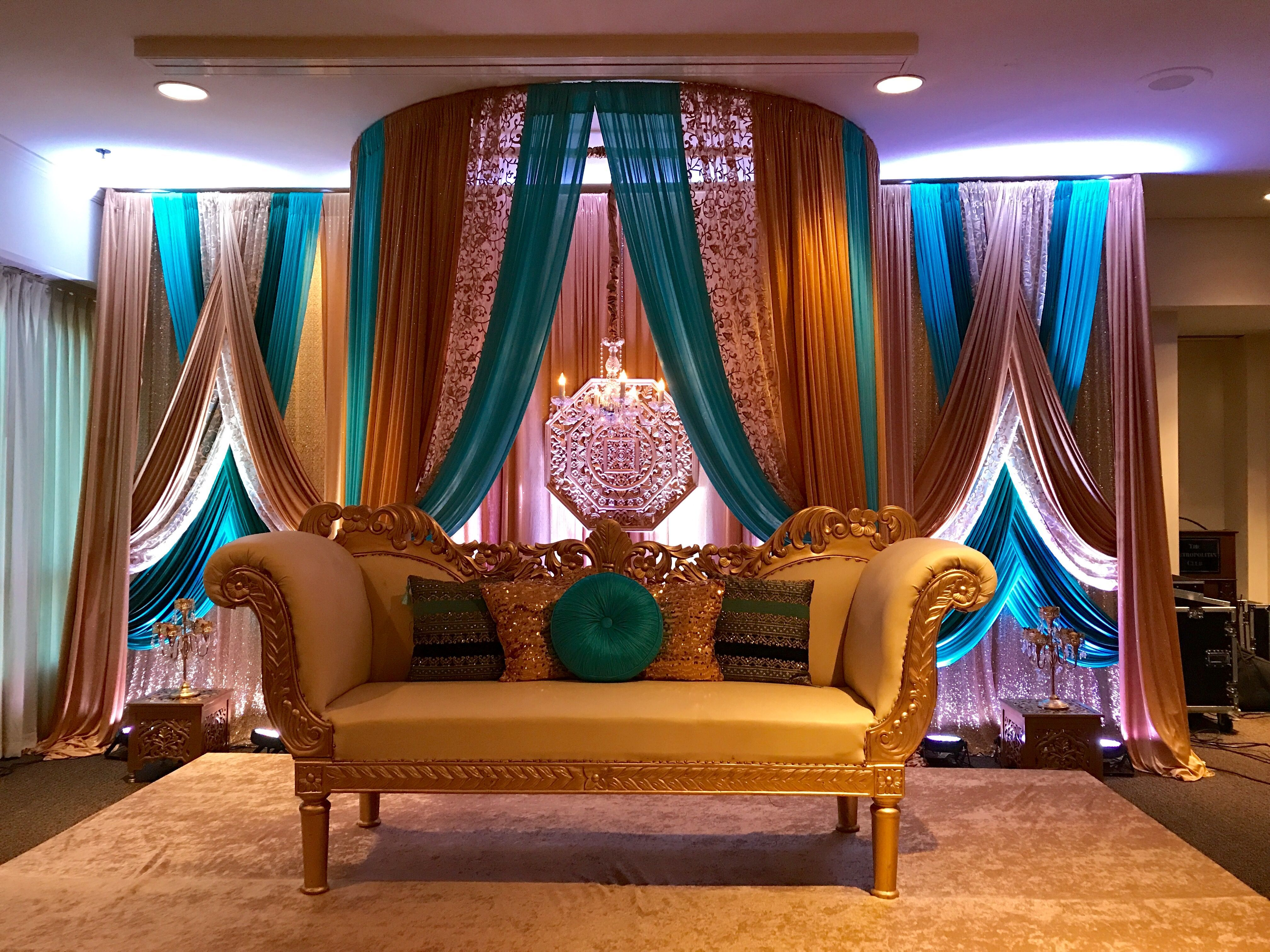 Teal, turquoise color Indian reception decor. # ...