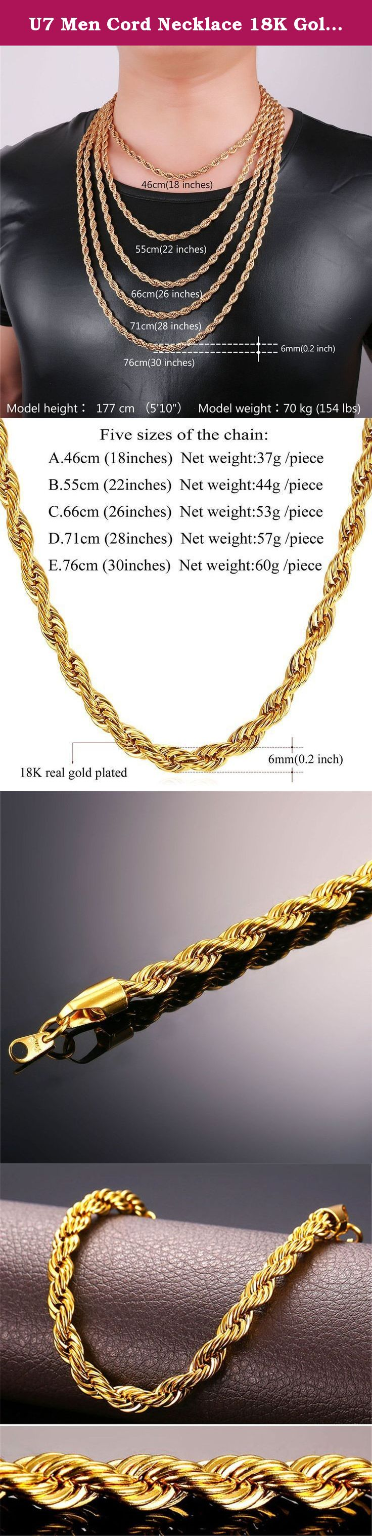 053de0fd72712 U7 Men Cord Necklace 18K Gold Plated 6mm Rope Chain,22