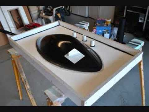 how to make concrete sink countertop