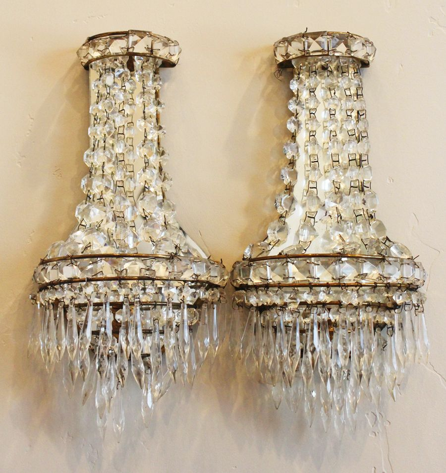 Pair Art Deco French Crystal Wall Sconces Art Deco Lamps