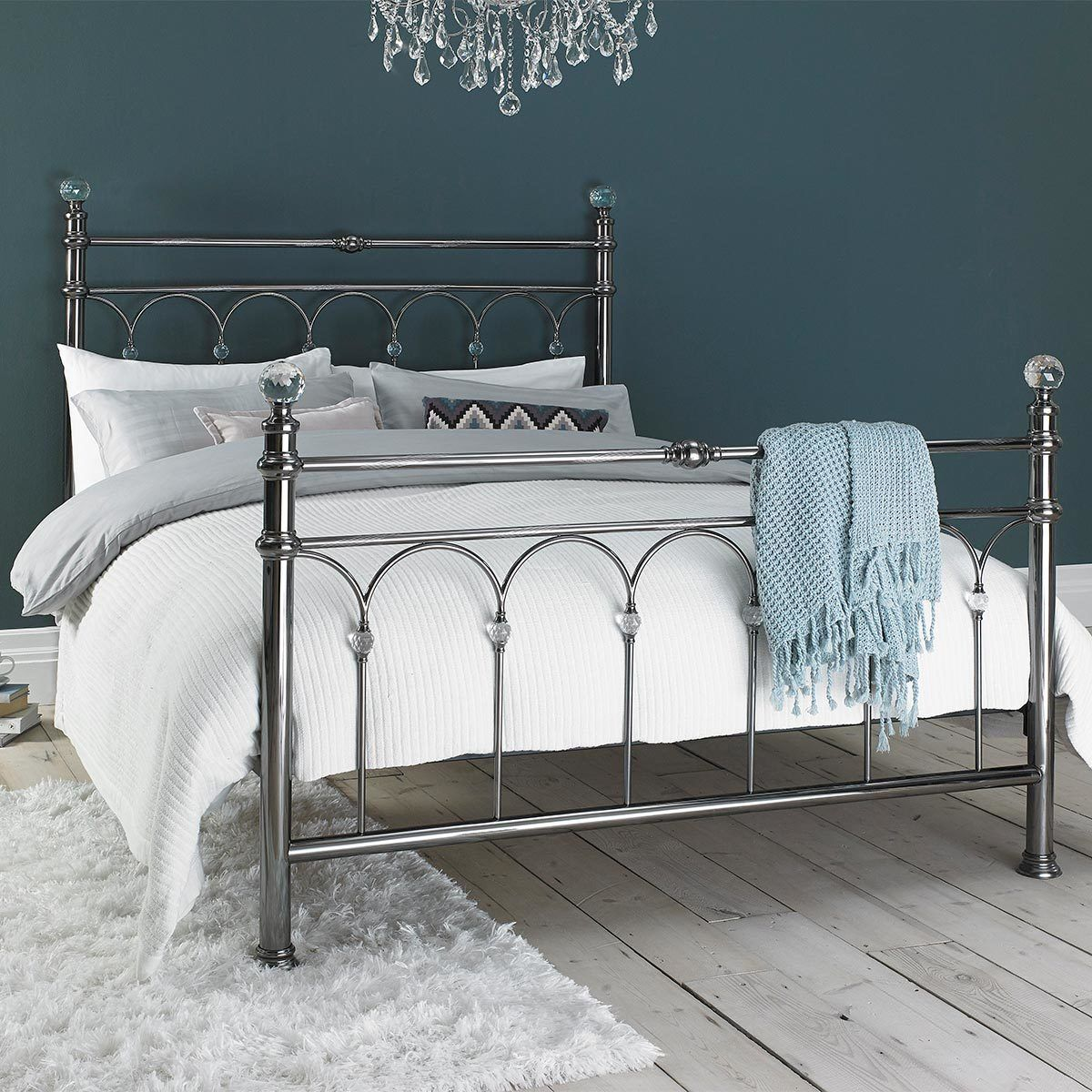 Bentley Cristina Antique Nickel Finish Metal Bed Frame