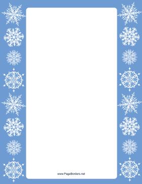 this blue margins snowflake border has pristine white snowflakes