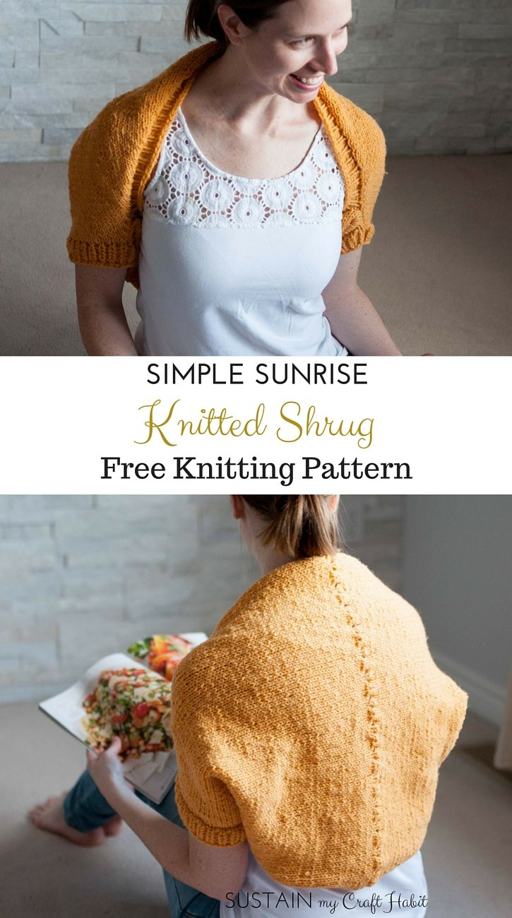 Simple Sunrise Knitted Shrug Pattern | Pinterest | Knit shrug ...