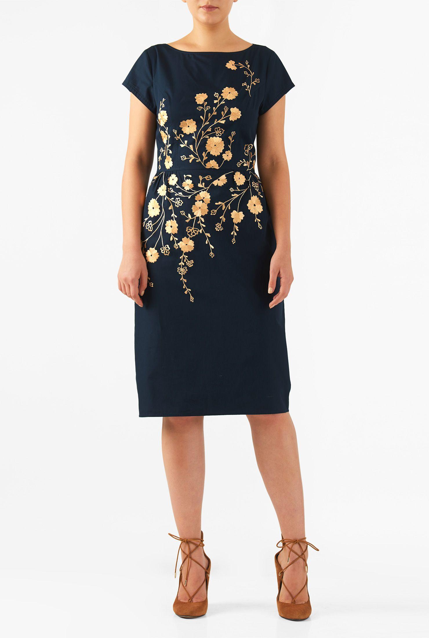 Floral embellished poplin sheath dress floral cotton and wardrobes