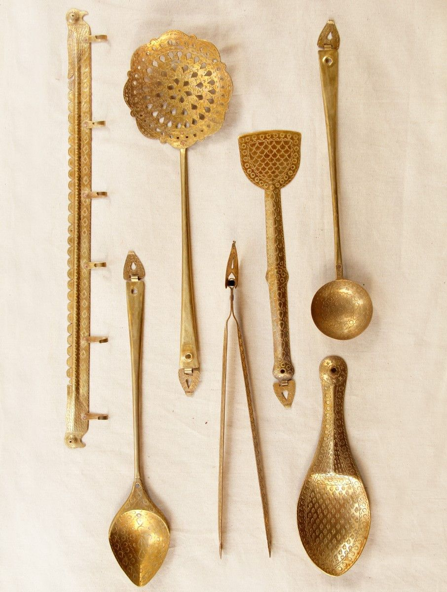 Handcrafted Brass Kitchen Set Set Of 7 Brass Kitchen Vintage
