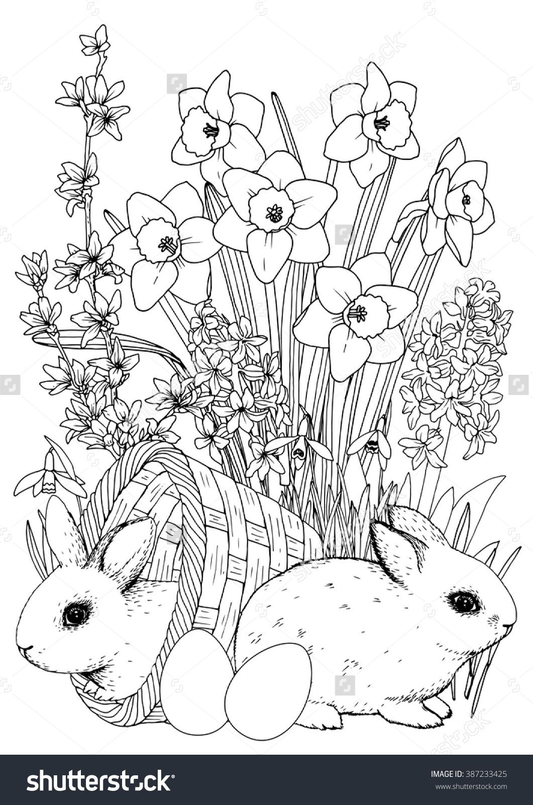 The coloring book of cards and envelopes flowers and butterflies - Printable Coloring Book Page All Elements Are Isolated And Editable