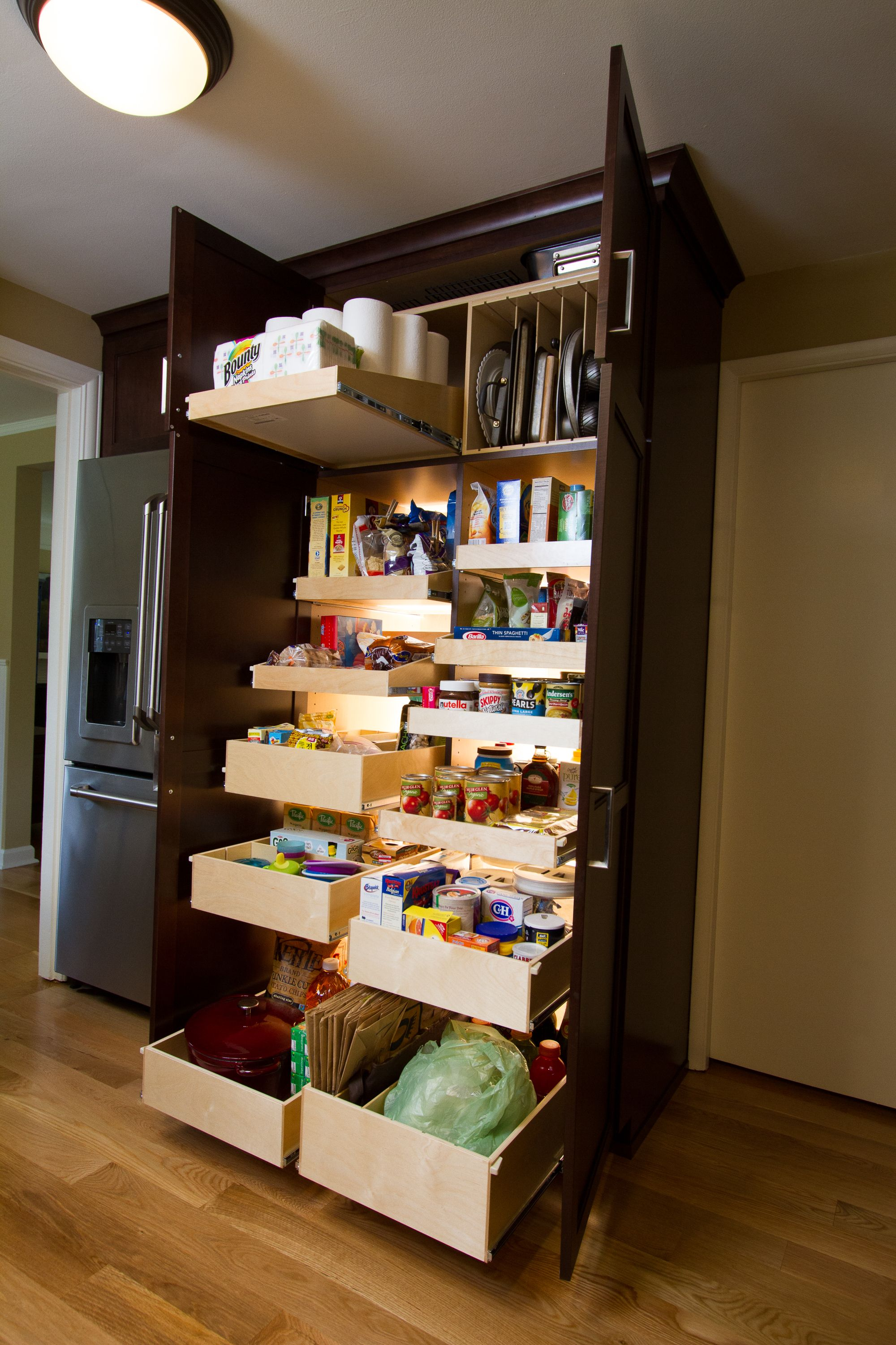 Reinstall Pull Out Pantry Shelves In 2020 Farmhouse Kitchen Cabinets Kitchen Cabinet Design Kitchen Cabinets Makeover