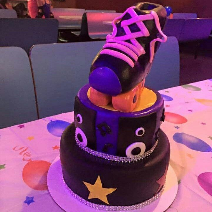 Completely edible roller skate themed cake put on your