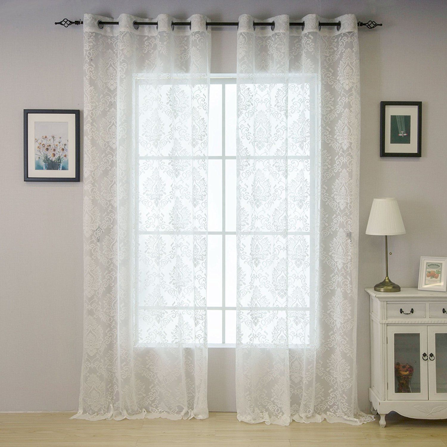 Valea Home Grommet Top Lace Window Curtain Drape for Living Room, 54 ...
