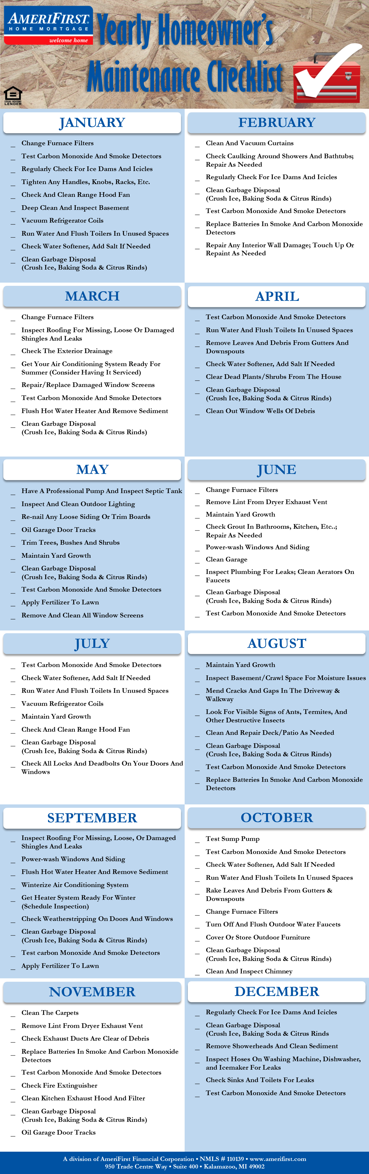 Yearly Home Maintenance Checklist Get organized by the month so