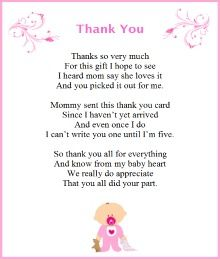 Baby Shower Thank You Poems From Baby Baby Shower In 2019 Baby